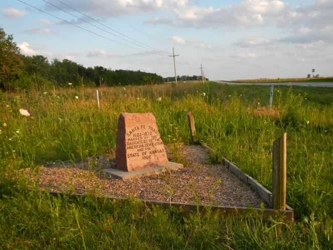 Monument to the Santa Fe Trail and Oregon Trail route out of Kansas City east of Gardner KS.