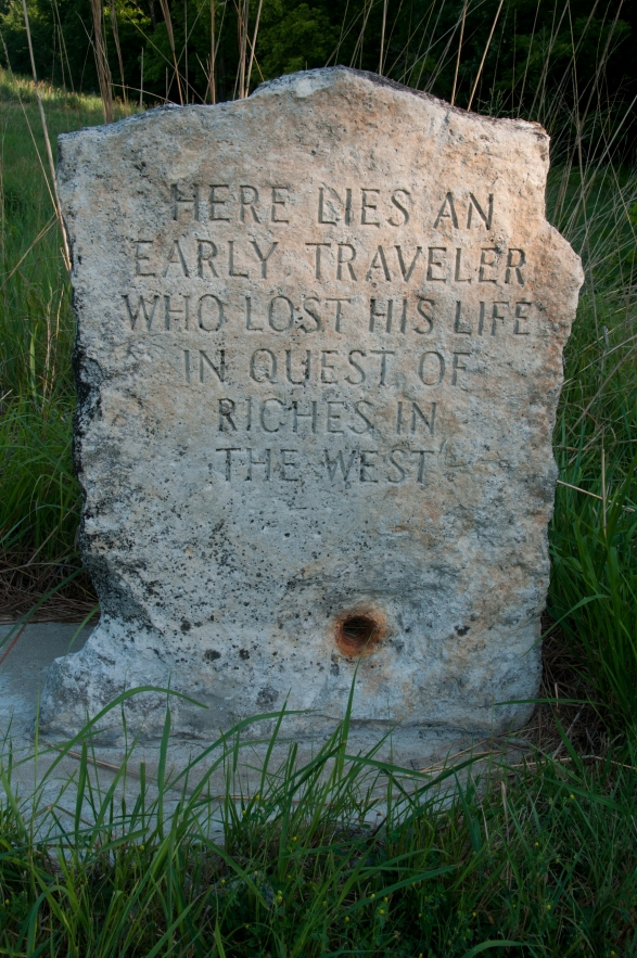 Tombstone of Oregon Trail traveller near Scott Spring just outside of the village of Westmoreland Kansas.