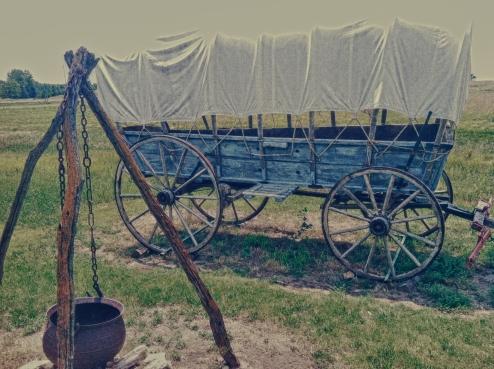 Wagon at camp. Hollenberg Ranch, Kansas
