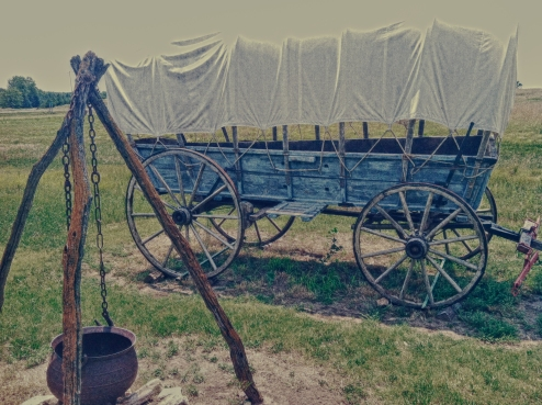 Wagon at camp. Hollenberg Ranch, Kansas