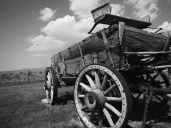 Dilapidated wagon at Willie Handcart historic site. An important historic location to the Mormon migration.