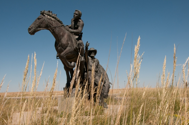 Sculpture outside of the National Historic Trail Interpretive Center, Casper Wyoming