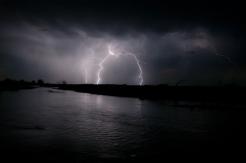 Night time lightening storm over North Platte River near village of Lisco Nebraska.