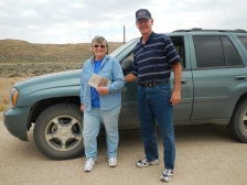 """Levida Hileman and her husband. She is the author of the book """"In Tar And Paint: The Inscriptions at Independence Rock and Devils Gate"""". It details the history behind many of the 800 plus inscriptions on Independence Rock. They were driving this section of the Oregon trail and stopped to talk for a long while."""