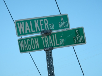 Road sign along my walk of the Oregon Trail west of North Platte Nebraska.