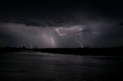 Night time lightening storm over North Platte River near village of Lisco Nebraska.