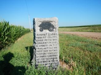 Historic marker designating the site of an Indian ambush of a stage coach near Oak Nebraska.