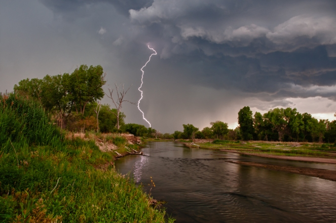 Lightening storm over the Platte River near Cozad Nebraska along the Oregon Trail.