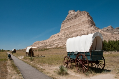 Wagons heading up to Mitchell along the Oregon Trail. Scotts Bluff National Monument, Nebraska.