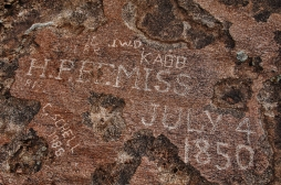 Emigrant signature in Independence Rock appropriatly etched on July 4th 1850. There are over 800 emigrant signitures carved into Independence Rock. It got it's name because the emigrants hoped to reach the rock by 4th of July to ensure snow free travel over the Blue and Cascade Mountains later in the journey.
