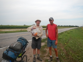 Myself with Jim Mermon, a farmer who walked with me for about five miles near Hastings Nebraska. His wife gave me a bag of goodies when she picked Jim up.