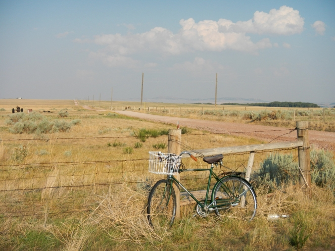 Whimsical bicycle along Oregon trail west of Glendo Wyoming