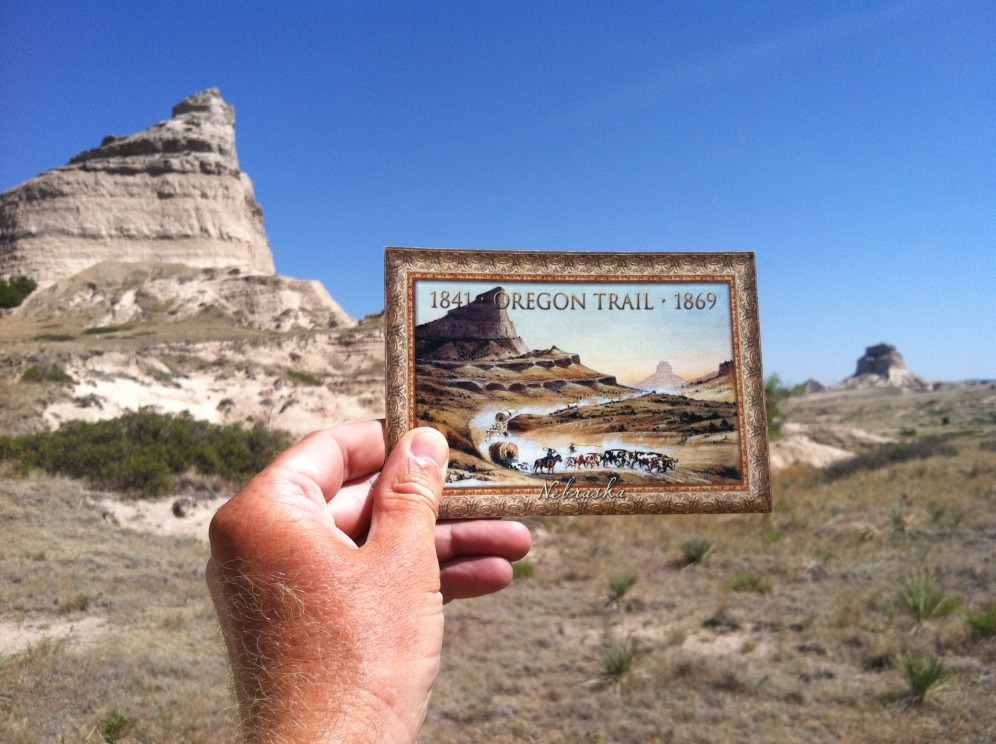 Postcard of famous painting by William Henry Jackson depicting the Oregon Trail from Mitchell Pass. Scotts bluff National Monument. Nebraska.
