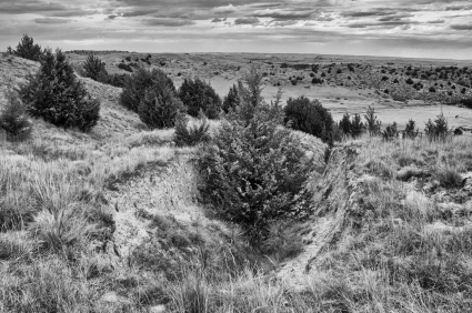 Location where the Oregon Trail begins steep descent into Ash Hollow Spring. Ash Hollow State Historic Park Nebraska.