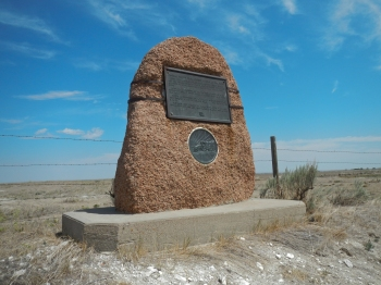 Monument designating Horse Creek, location where the first Fort Laramie Treaty was signed between the United States and the Indian Nations of the Plains on Sept 17 1851.