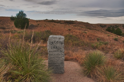 Granite marker at Ash Hollow, the steepest grade since the beginning of the Oregon Trail.