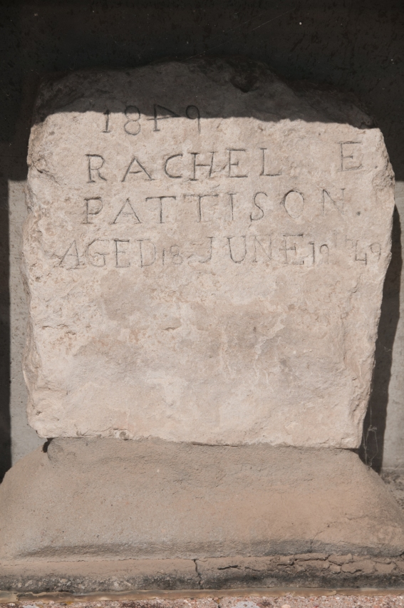 Tomb stone of Rachel Pattison who died in Ash Hollow from Cholera. Her Husband carved the tombstone, she was 18, he was 21, he never remarried. Ash Hollow State historic Park, Nebraska.