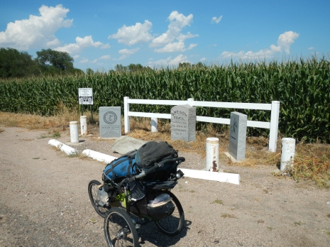 Granite markers designating the site of the Willow Creek Pony Express Trail Station.