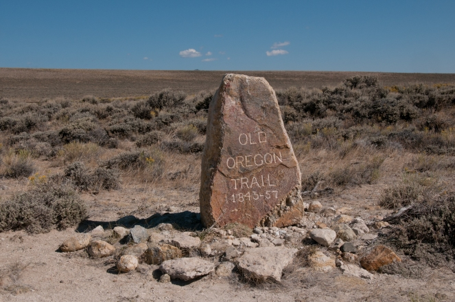 South Pass, where the Oregon/California/Pony Express/Mormon Trails cross from the Atlantic drainage to the Pacific drainage.. The stone memorial was placed by Ezra Meeker.