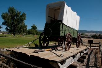 Mormon Wagon on ferry barge which proceeded the Platte Bridge. Fort Caspar Wyoming.
