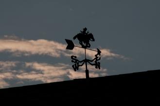 Pony Express wind vane atop museum at Rock Creek State Historic Park, Nebraska.
