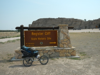 An emigrants signature carved into Register Cliffe at Register Cliffe State Park near Guernsey Wyoming.