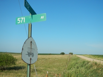 One of many signs designating the Oregon trail through southern Nebraska.