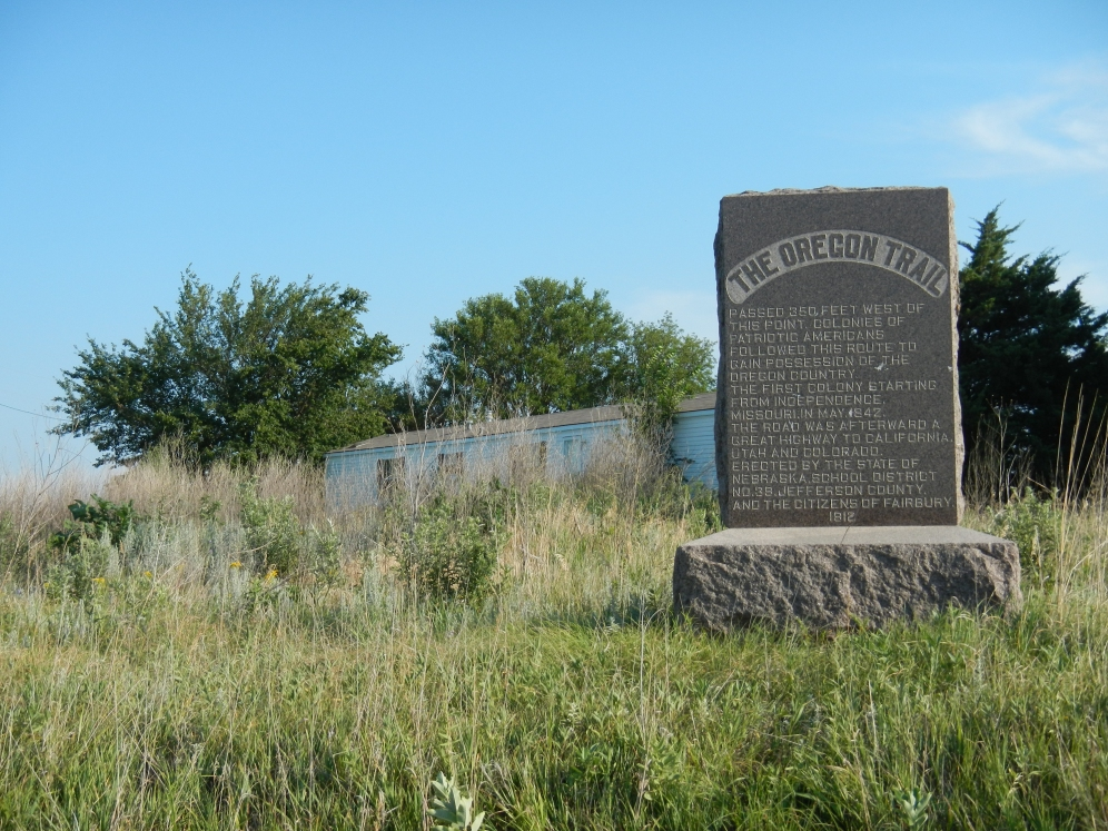 Stone monument, designating the Oregon trail through southern Nebraska.