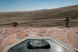 Monument designating location of the rescue of the Willie Handcart Company who were starving and freezing in bitter winds of an early winter storm in October of 1856. it is an important location to the Mormon migration to Salt Lake.