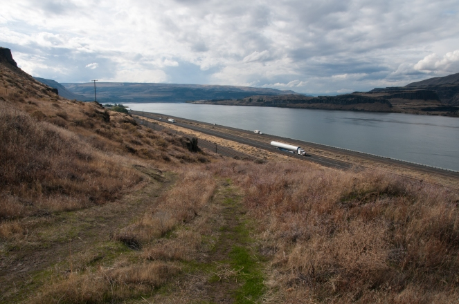 Columbia River from short stretch of The Oregon Trail still evident a few miles west of Biggs junction Oregon.