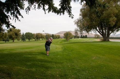 Oregon trail ruts still visible through Soda Springs Golf Course. Soda Springs Idaho.