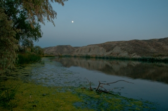 Moon above The Snake River near Three Island Crossing where the Emigrants crossed the Snake River. Near Glenns Ferry Idaho.