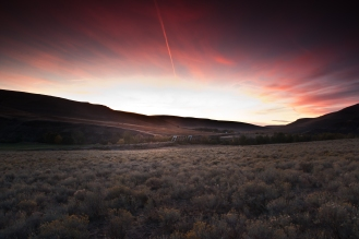 Sunset along Umatilla River Valley. Oregon.