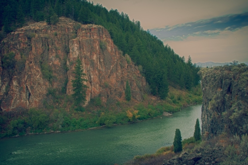 Sheep Rock over Bear River. One mile west of Soda Springs Idaho.