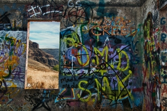 Graffiti on abandoned house along Umatilla River Valley. Oregon.