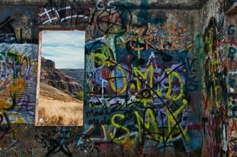 Graffiti on abandoned house along Umatilla River Valley. Oregon.