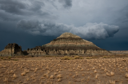 Storm clouds behind Church Butte, a landmark along the Oregon Trail in western Wyoming. a Pony Express Trail station was positioned nearby.