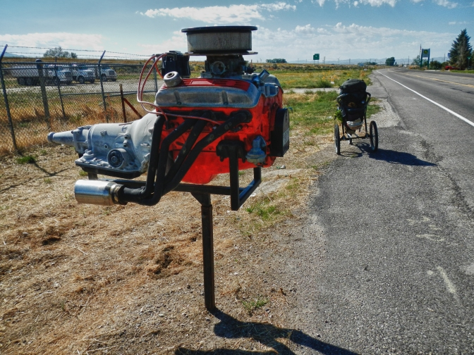 Creative mailbox on the outskirts American Falls, Idaho.