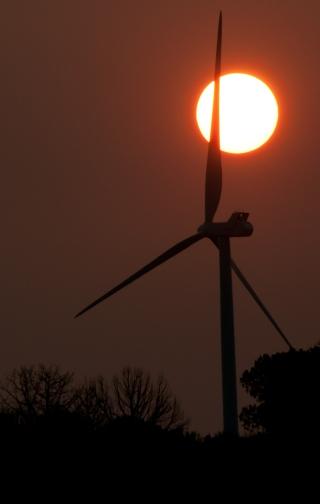 Wind Turbine from Massacre Rocks State Park Southwest of american Falls Idaho.