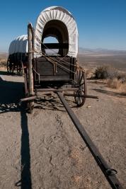 Wagons outside National Historic Oregon Trail Interpretive Center.