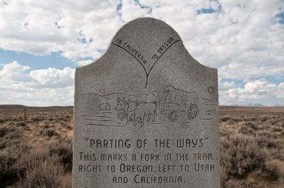 "Monument along HW 28 designating the location of the ""parting of the ways' for those emigrants who chose to take the Seminol Cutoff. This monument, howerver is now believed to be a substantial distance from the true 'Parting of the Ways. Along HW 28 Wyoming."