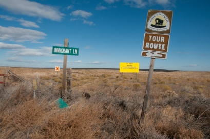 The Oregon Trail passes through the southern region of the Boardman Bombing Range. Ironically the Trail has been very well preserved though the Range. Permission is necessary to enter, I didn't have it so walked the road just south.