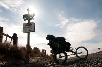 An Oregon Trail sign along Eighteen Mile Canyon. Oregon.