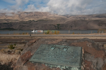 Monument designating the nearby location where the Emigrants came upon the Columbia River. Just west of Biggs Junction Oregon.