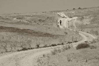 Jan Boog walking the Oregon Trail through a remote region of Eastern Oregon, 2012.