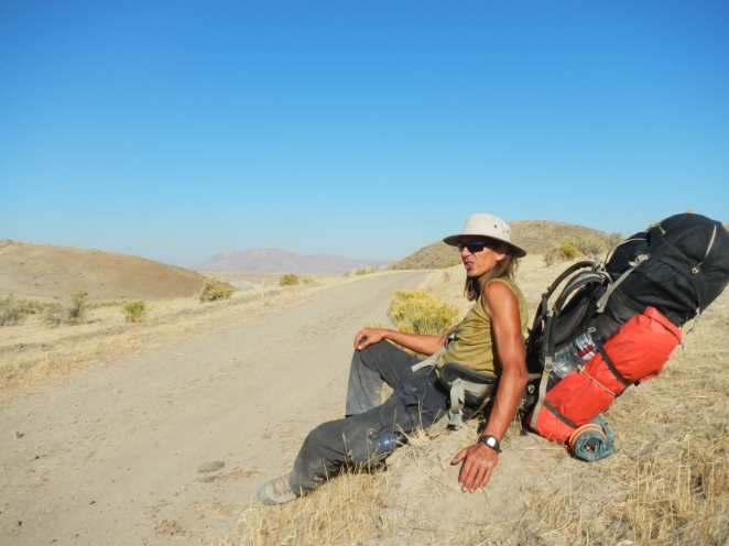 Jan resting on his journey along the Oregon Trail in a remote region of Eastern Oregon, 2012.